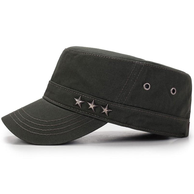 Casual Buckled Adjustable Snapback Cadet Patrol Military Hat with Three Stars Emblem