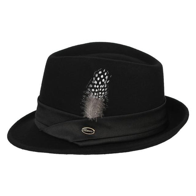 Black Wool Fedora Trilby Hat with White-spotted Black Feather in Hatband