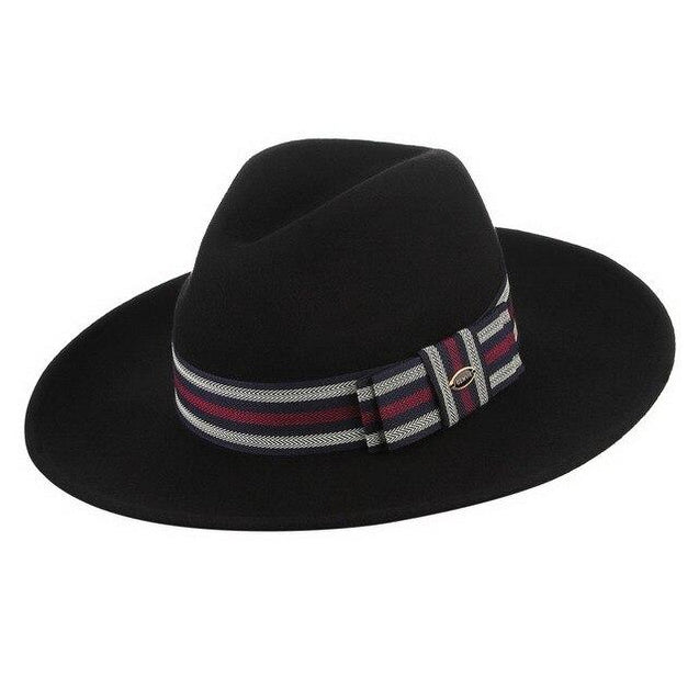 Wide Brim Wool Felt Fedora Hat with Red & Silver Belt Lines
