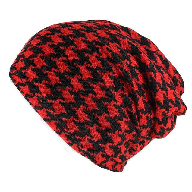 Hip-hop Houndstooth Plaid Beanie, Scarf or Skullie
