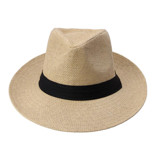Large Brim Paper Straw Panama Hat with Black Ribbon