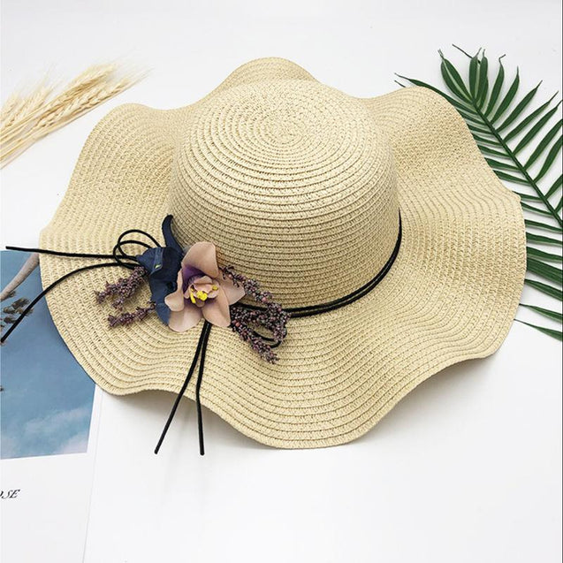 Floppy Foldable Straw Sun Hat with Floral Bowknot