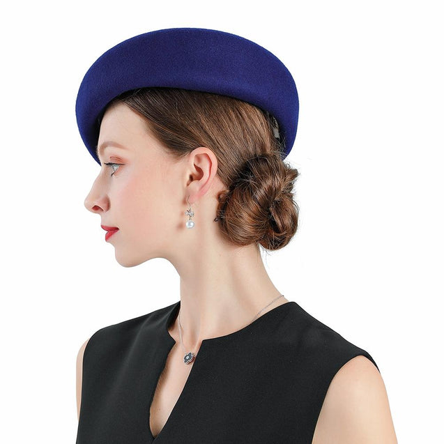 Vintage Blue Wool Pillbox Fascinator Hat with Sinamay Bow