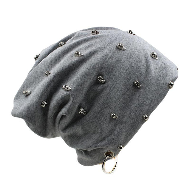 Beanie or Bonnet with Skulls and Hoop