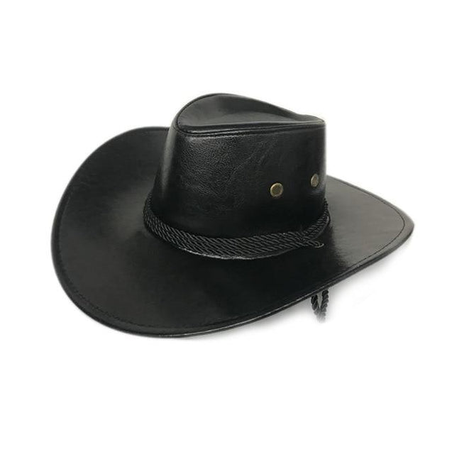 Faux Leather Cowboy Hat with Twisted Rope Band and Adjustable Strap