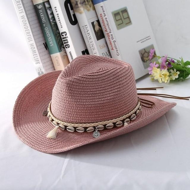 Tasseled Sea Shell Summer Cowboy Hat with Charms