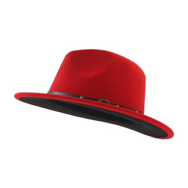 Patchwork Wool Felt Fedora Hat with Belt and Buckle