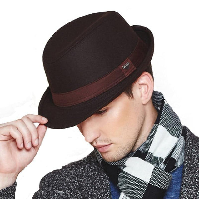 Elegant Wide Brim Wool Felt Fedora Trilby Hat with Black Hatband