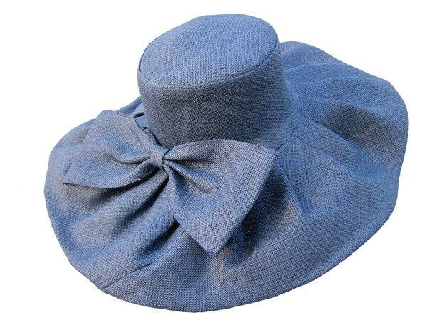 Floppy Wide Brim Linen Sun Hat with Bow