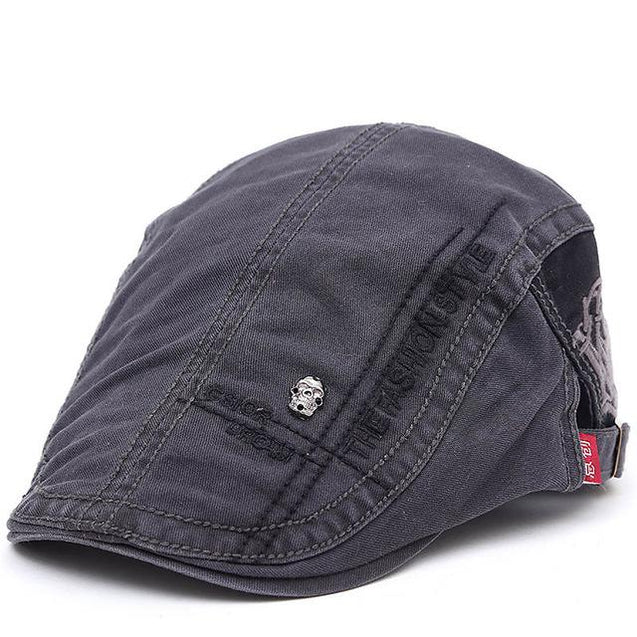 Embroidered Cotton Flat Newsboy Cap