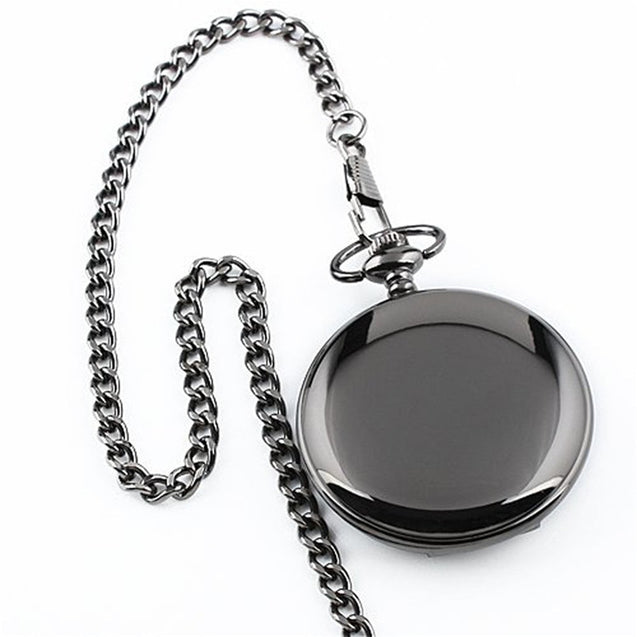 """To My Son"" Black Punk Smooth Quartz Pocket Watch"