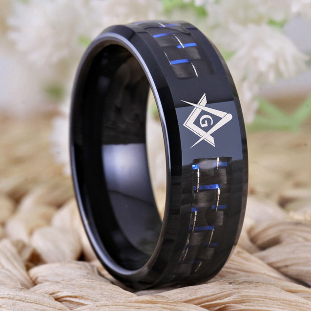 8mm Carbon Fiber with Masonic Symbol Black-Plated Tungsten Fashion Wedding Ring