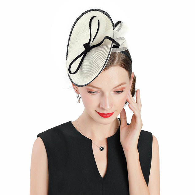 Vintage White Headband Pillbox Fascinator Hat with Bowknot