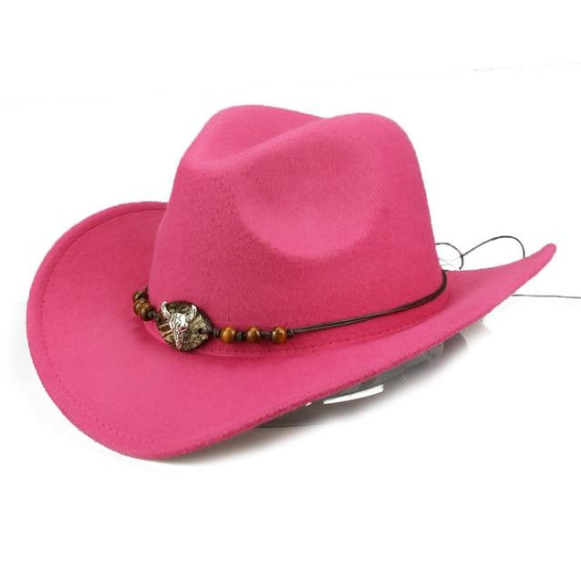 Bull Skull Themed Cowboy Hat with Rope Beaded Hat Band
