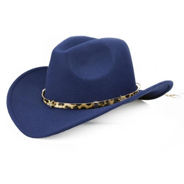 Wide Brim Safari-style Cowboy Hat with Leopard Band