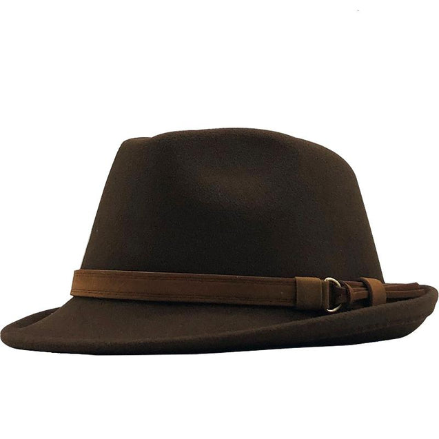 Wool Felt Fedora Trilby Hat with Brown Belt Hatband