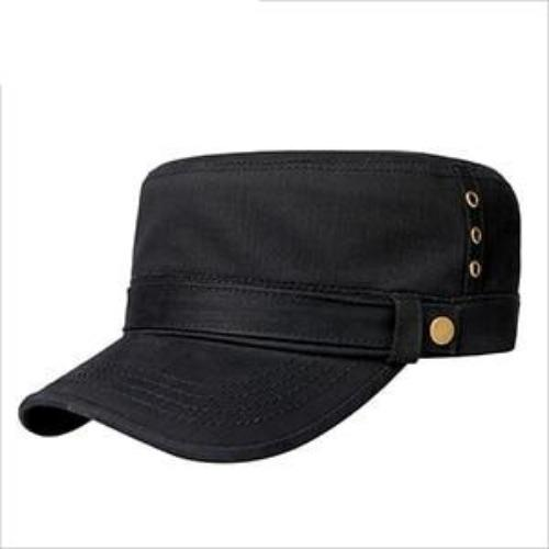 Buckled Cotton Flat Top Snapback Army Military Hat