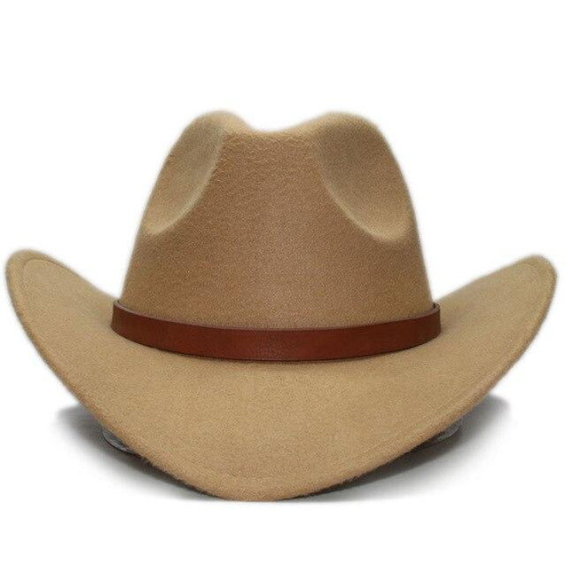 Retro Parent-Child Wool Cowboy Hat with Brown Leather Band