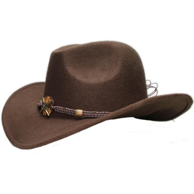Vintage Parent-Child Wool Cowboy Hat with Knitted Wood and Bead Band
