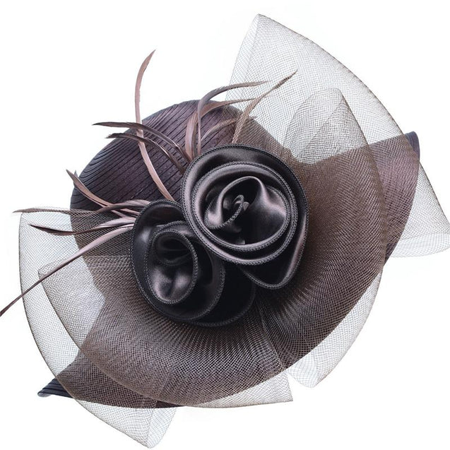 Floppy Wide Brim Floral Satin Sun Hat with Feathers