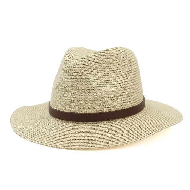 Vintage Straw Panama Hat with Leather Belt Bowknot