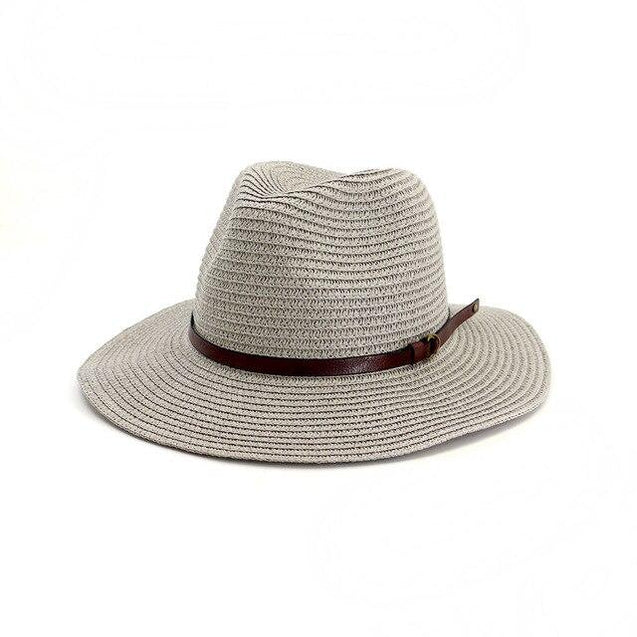 Straw Panama Hat with Buckled Belt