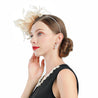 Beige Headband Pillbox Fascinator Hat with Cupid Feathers
