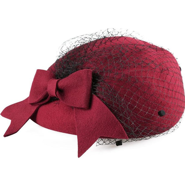 Wool Pillbox Fascinator Hat with Netted Veil and Bow