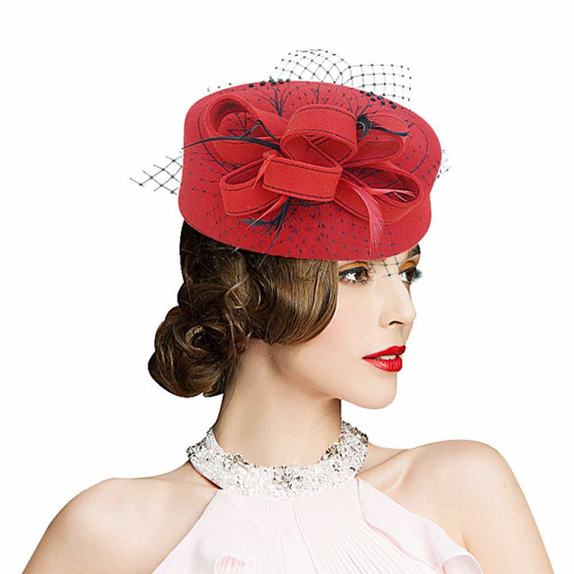 Wool Felt Pillbox Fascinator Hat with Netted Veil, Flower, Feathers and Beads