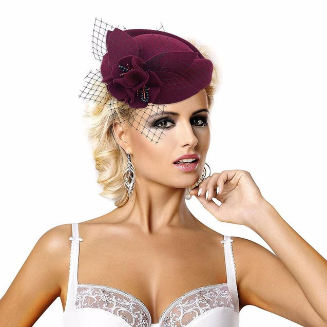 Flower Wool Pillbox Fascinator Hat with Netted Veil