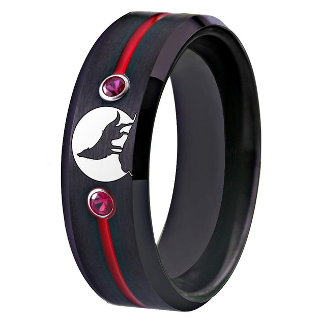 Howling Wolf Moon Cubic Zirconia Tungsten Carbide Wedding Band