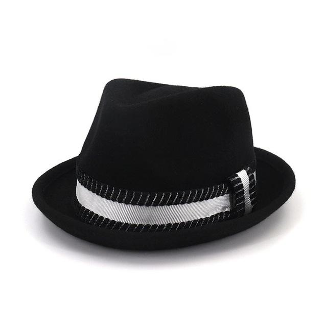 Flanged Manhattan Structured Wool Trilby Hat with Black and White Striped Hatband