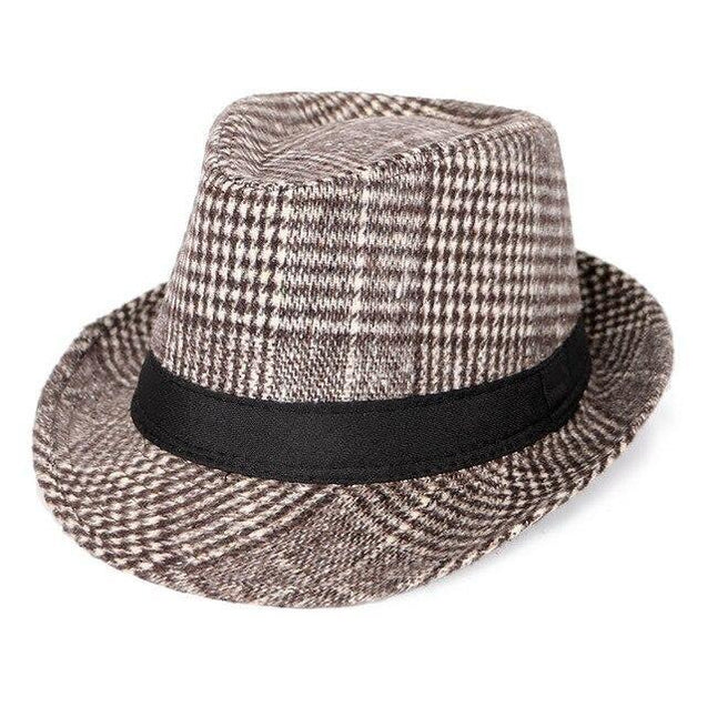 Vintage Wool Felt Plaid Fedora Trilby Hat with Black Hatband
