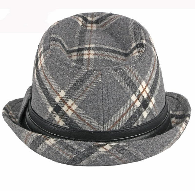 Vintage Plaid Wool Trilby Hat with Black Hatband