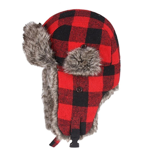 Thick Plaid Bomber Hat with Earflaps