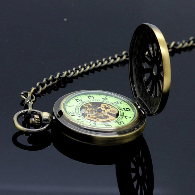 Bronze Pocket Watch with Glow in the Dark Luminous Dial - InnovatoDesign