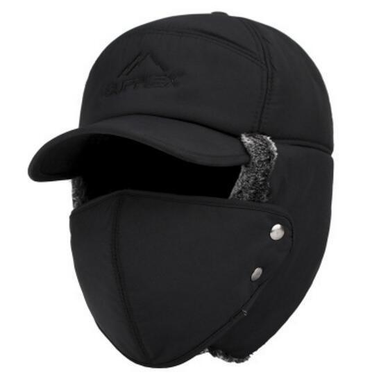 Velvet Thermal Bomber Hat with Ear and Face Protection