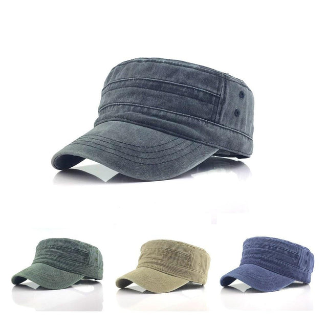 Adjustable Classical Style Solid Color Cotton Army Military Cap