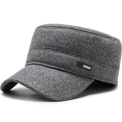 Classic Woolen Adjustable Flat Top Military Army Cap