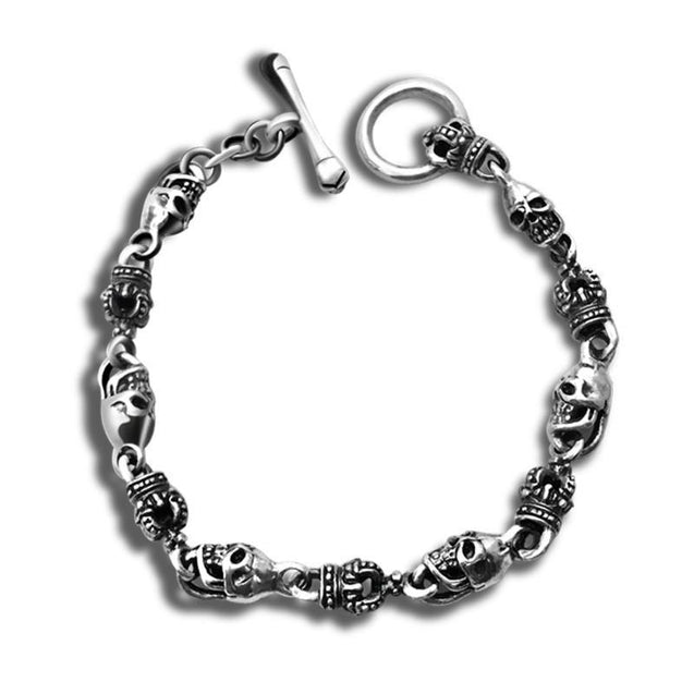 Gothic Skull and Crown 925 Sterling Silver Vintage Punk Biker Bracelet