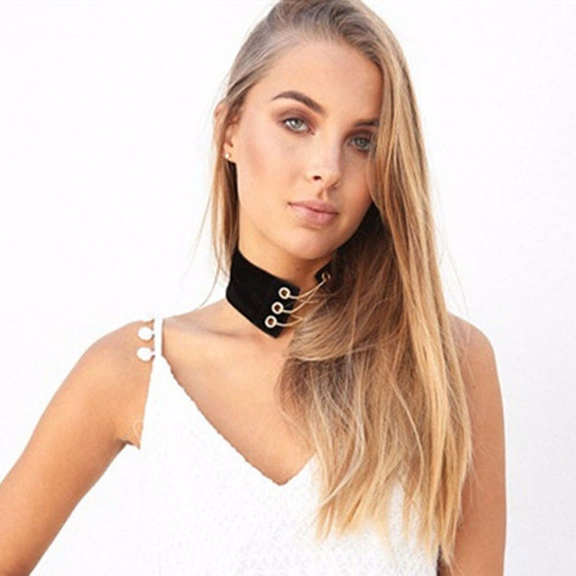 Lace Up Silver Color Chain Link Choker Collar Velvet Leather Necklace