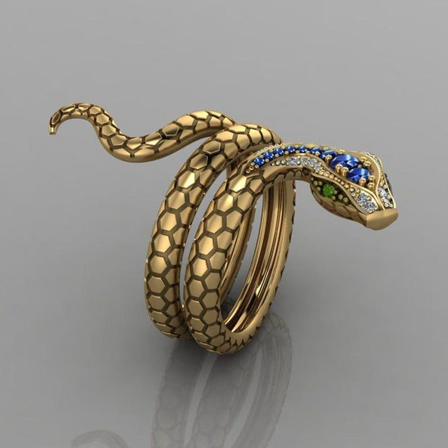 Coiled Snake Multicolor Cubic Zirconia Punk Ring