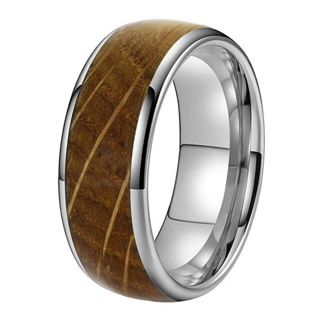 8mm Whiskey Barrel Oak Wood Inlay Dome Band Tungsten Wedding Ring