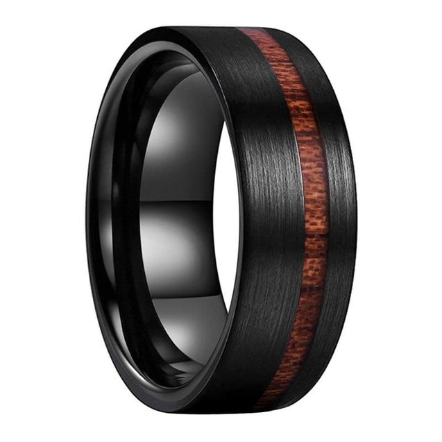 8mm Real Wood Inlay Flat Band Black Brushed Tungsten Carbide Wedding Ring
