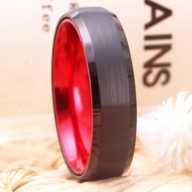 6mm Brushed Matte Black and Red-Plated Tungsten Wedding Ring