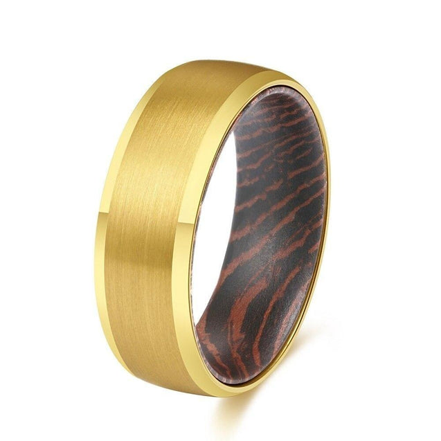 8mm Men Beveled Edges Tungsten Carbide with Wood Interior Comfort Fit Wedding Ring