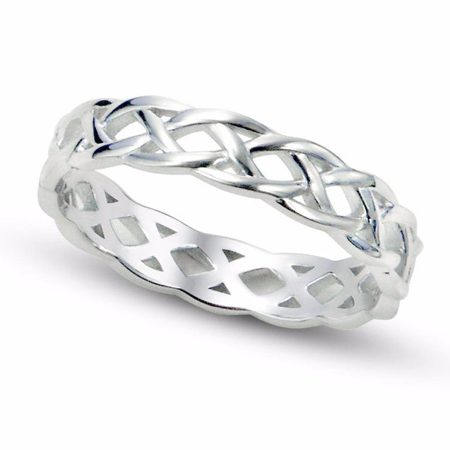 4mm Women High Polished Eternity Celtic Knot 925 Sterling Silver Wedding Ring