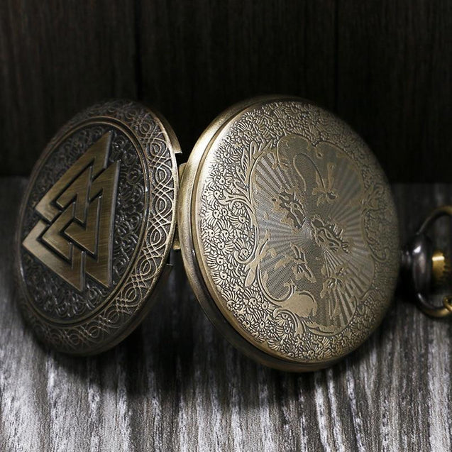 Bronze Pocket Watch with Norse Themed Valknut Carving - InnovatoDesign