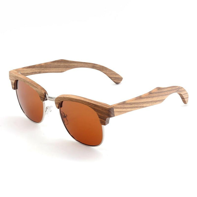 Zebra-stripe Design Luxury Wooden Sunglasses for Ladies Polarized - InnovatoDesign