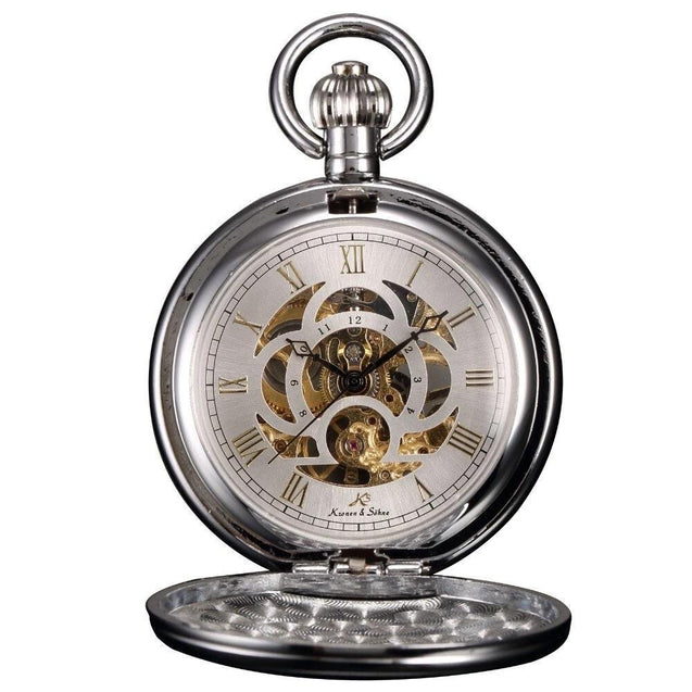 Classic Alloy Mechanical Pocket Watch in Black, Gold, and Silver - InnovatoDesign